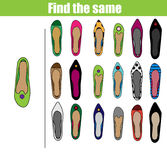 Find the same pictures children educational game. Find equal shoes kids activity Stock Photography