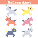 Find the same pictures. Children educational game. Find equal unicorns Royalty Free Stock Photo