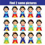 Find the same pictures children educational game. Find same princess. Find the same pictures. Children educational game. Find equal pairs of princess. Activity Stock Photos