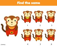 Find the same pictures children educational game. Find two identical monkey stock illustration