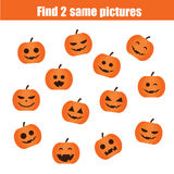 Find the same pictures children educational game, halloween theme Royalty Free Stock Image