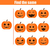 Find the same pictures children educational game. Halloween theme Stock Images