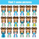 Find the same pictures children educational game. Find pairs of cute princess. Girls royalty free illustration