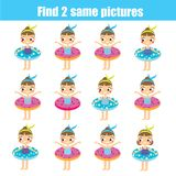 Find the same pictures children educational game. Find same summer girls. Find the same pictures. Children educational game. Find equal pairs of cute girls royalty free illustration