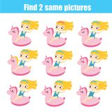 Find the same pictures children educational game. Summer holidays theme. Find the differences educational children game with answer. Summer holidays theme Royalty Free Stock Photography