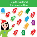 Find the same pictures children educational game with winter mittens. Find the same pictures children educational game. Find equal mittens task for kids. Winter Stock Image