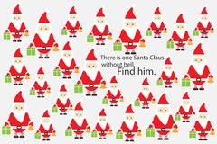 Find Santa Claus without bell, christmas fun education puzzle game for children, preschool worksheet activity for kids, task for t. Find Santa Claus without bell stock illustration