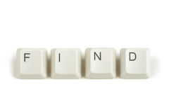 Find from scattered keyboard keys on white Royalty Free Stock Photos