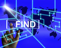 Find Screen Indicates Internet or Online Discovery or Hunt Stock Image