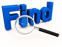 Find or search. Searching or finding the right thing, product, service or information Royalty Free Stock Photos