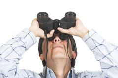Find and seek - man with binoculars Royalty Free Stock Photos