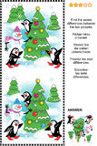 Find the seven differences Christmas or New Year visual puzzle Royalty Free Stock Images