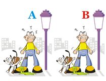 Find the seven differences - dog peeing. Game for children's: spot the 7 differences between these two fun illustrations Stock Image