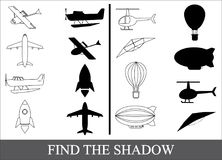 Find the shadow of air transport, kid's game. Find the shadow of air transport, kid's game Stock Image