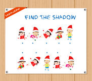 Find the Shadow Educational Activity Task for Preschool Children with christmas kids.  Royalty Free Stock Photography