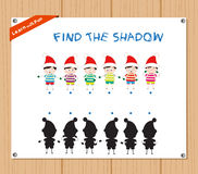 Find the Shadow Educational Activity Task for Preschool Children with christmas kids.  Royalty Free Stock Photos