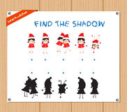 Find the Shadow Educational Activity Task for Preschool Children with christmas kids.  Stock Image