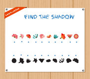 Find the Shadow Educational Activity Task for Preschool Children with flowers.  Stock Image