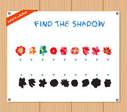 Find the Shadow Educational Activity Task for Preschool Children with flowers.  Royalty Free Stock Photography