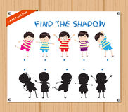 Find the Shadow Educational Activity Task for Preschool Children with funny kids.  Stock Photography