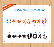 Find the Shadow Educational Activity Task for Preschool Children with summer.  Royalty Free Stock Image