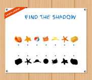 Find the Shadow Educational Activity Task for Preschool Children with summer.  Stock Photos