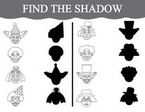 Find the shadows of clown's faces and color them. Visual educational game for preschool children. Find the shadows of clown's faces and color them Royalty Free Stock Photos