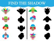 Find the shadows of clown's faces. Development of attention of children. Education. Vector illustration. Find the shadows of clown's faces. Development Royalty Free Stock Photography