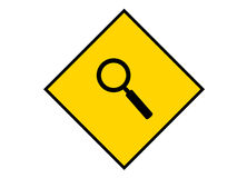 Find Sign. A yellow sign with a magnifying glass on it Royalty Free Stock Photos