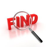 Find sign under the magnifier icon Royalty Free Stock Photography