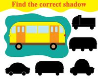 Find silhouette of bus. Game for children. Education. Find silhouette of bus. Game for children. Education Royalty Free Stock Image
