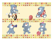 Find Similar Images Border for wallpaper with stuffed bear cubs Royalty Free Stock Photo