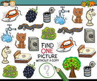 Find single picture game cartoon. Cartoon Illustration of Finding Single Picture without a Pair Educational Game for Preschool Children Stock Photography