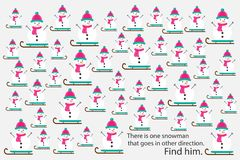 Find snowman that goes in other direction, xmas education puzzle game for children, preschool worksheet activity for kids, task fo stock illustration