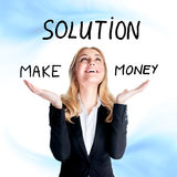 Find solution concept. Portrait of beautiful happy business woman with raised up hands isolated on blue and white background, make money, find solution concept Royalty Free Stock Images