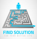 Find solution. Design with maze and man symbol Stock Images