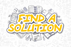 Find A Solution - Doodle Yellow Word. Business Concept. Yellow Inscription - Find A Solution. Business Concept with Cartoon Icons. Find A Solution - Hand Drawn Royalty Free Stock Images