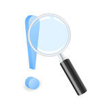 Find the solution. Exclamation mark with magnifying glass. Vector illustration Royalty Free Stock Photo