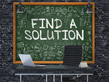 Find a Solution - Hand Drawn on Green Chalkboard. 3d. Find a Solution - Hand Drawn on Green Chalkboard in Modern Office Workplace. Illustration with Doodle Stock Images