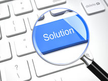 Find a solution. Magnifier and solution keyboard 3d button Royalty Free Stock Images