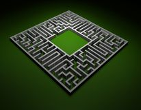Find a  solution - maze. Labyrinth. 3D render of Labyrinth. Network of paths in a maze. Puzzle concept for finding a solution in a maze Stock Image