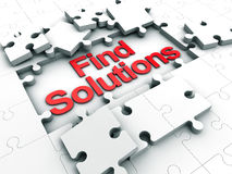 Find Solutions. Puzzle tiles over white Background Stock Image