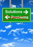 Find solutions to problems concept. Find solutions to problems road sign Stock Photo