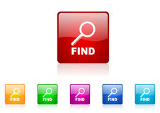 Find square web glossy icon. Colorful set Royalty Free Stock Photography