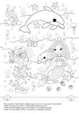 Activities book for children. Mermaid. Dolphin. Shells. Drawing. stock illustration