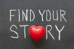 Find story. Find your story phrase handwritten on chalkboard with heart symbol instead of O royalty free stock photography