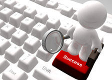 Find success on the internet icon symbol. Find success on the internet keyboard symbol 3d render Royalty Free Stock Photos