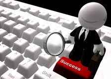 Find success on the internet icon symbol. Find success on the internet keyboard symbol 3d render Royalty Free Stock Images