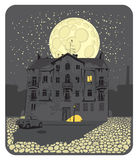 Find ten cats. House at night in urban landscape of the moon with ten cats Royalty Free Stock Photography