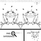 Find ten difference game. Find ten differences between the two pictures. Cartoon frog character. Colorful rebus for kid on isolated background. Wolf vector Stock Images
